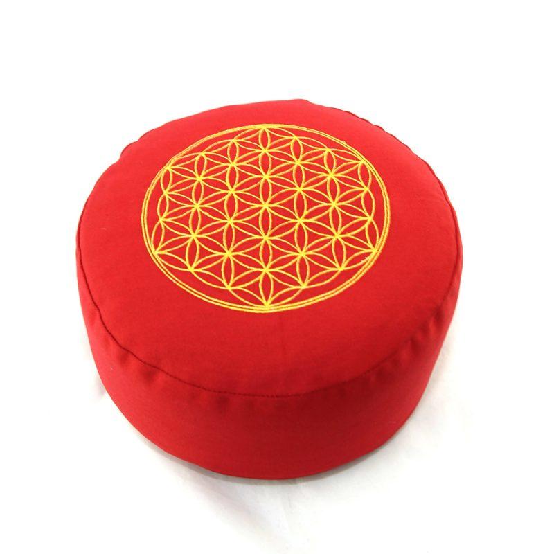 Meditationskissen | Yogakissen | Yoga Sitzkissen |mit Blume des Lebens | Rot