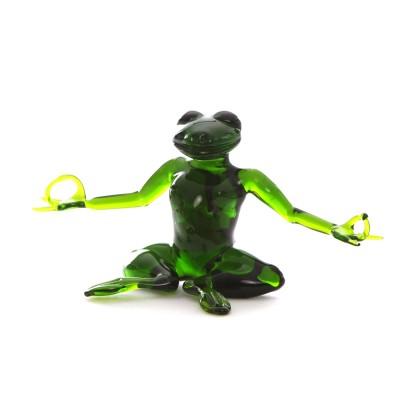 Yoga Frosch | Yoga Frosch kaufen | Glaskunst | grün | Handarbeit, frei vor der Gebläselampe geformt
