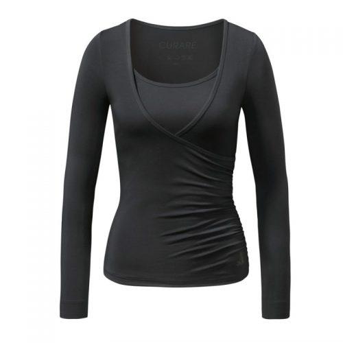 Yoga Kleidung | Curare | Yoga Shirt | Wrap Shirt | Black| Yogabekleidung | Yoga Shirt Damen