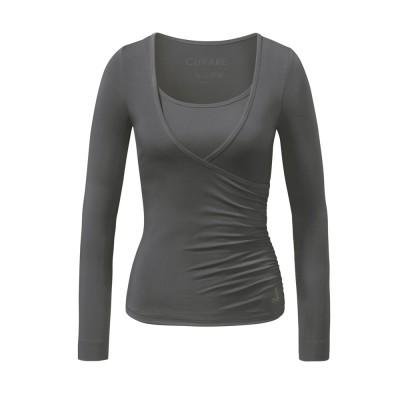 Yoga Kleidung | Curare | Yoga Shirt | Wrap Shirt | stone| Yogabekleidung | Yoga Shirt Damen