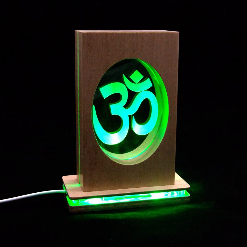 Meditationsleuchte | Stimmungslicht | Lampe| OM grün| Natur farben | mit leucht Fuss