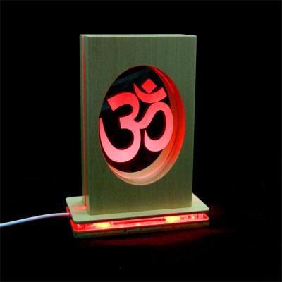 Meditationsleuchte | Stimmungslicht | Lampe| OM rot| Natur farben | mit leucht Fuss