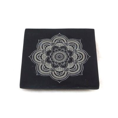 Räucherstäbchenhalter | Mandala | echig | grau-schwarz | Speckstein