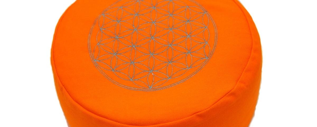 Meditationskissen | Yogakissen | Yoga Sitzkissen |mit Blume des Lebens | Orange