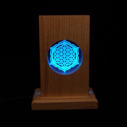 Meditationsleuchte | Stimmungslicht | Lampe| Blume des Lebens blau| Natur farben