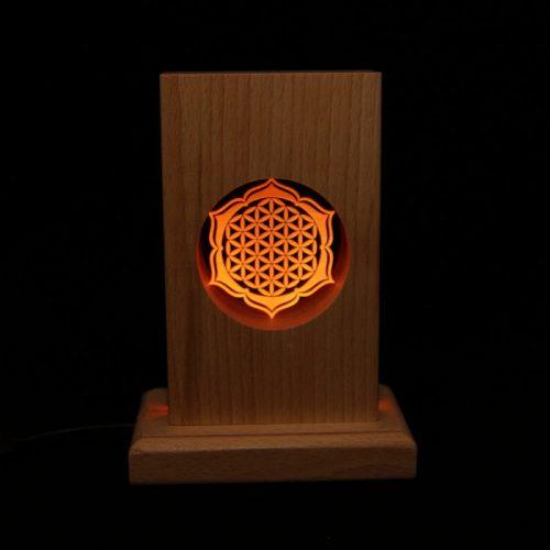Meditationsleuchte | Stimmungslicht | Lampe| Blume des Lebens orange | Natur farben