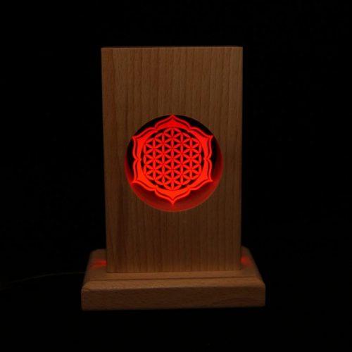Meditationsleuchte | Stimmungslicht | Lampe| Blume des Lebens rot| Natur farben