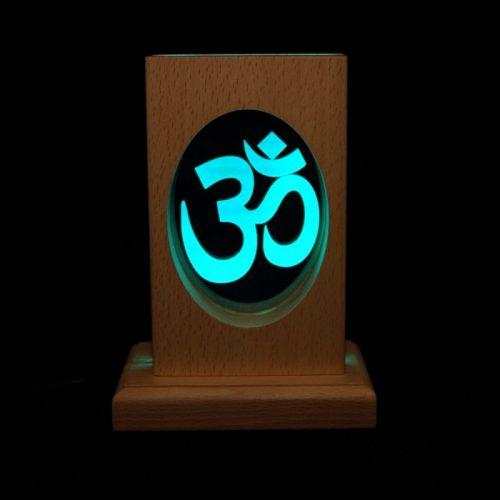 Meditationsleuchte | Stimmungslicht | Lampe| OM blau| Natur Holzsockel