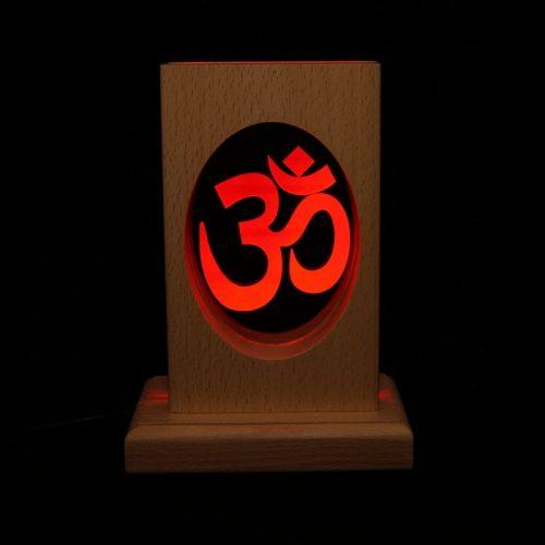 Meditationsleuchte | Stimmungslicht | Lampe| OM rot| Natur Holzsockel