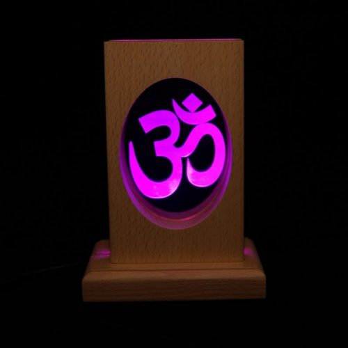 Meditationsleuchte | Stimmungslicht | Lampe| OM violett| Natur Holzsockel