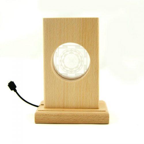 Meditationsleuchte | Stimmungslicht | Lampe| Sri Yantra | Natur Holzsockel