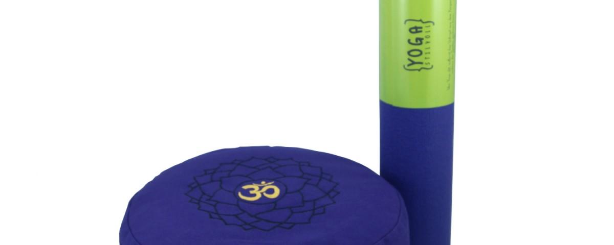 Yoga Set | Yogamatte | Yoga gurt | Meditationskissen | Yogakissen | Rot , Yogakissen mit Sahasrara Lila