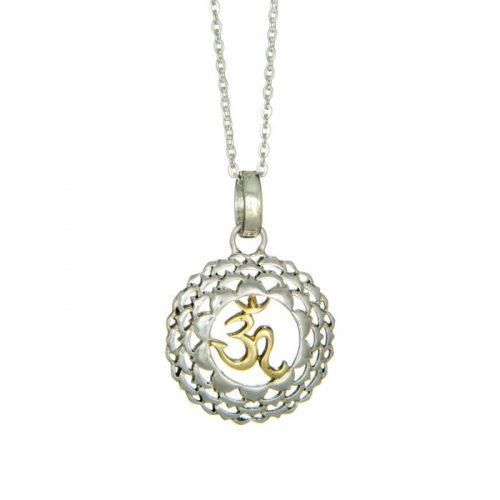 Kronen Chakra Anhänger teilvergoldet | bicolor | Spiritueller Schmuck | Sahasrara Chakra | Chakra Anhänger kaufen