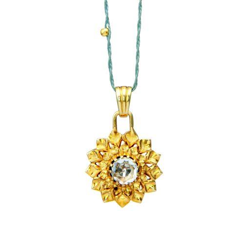 Kronen Chakra Anhänger | Gold Anhänger | mit Bergkristall | Yoga Schmuck | Sterlingsilber in edler 18 Karat vergoldeter Ausführung