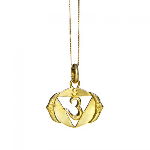 Drittes Auge Chakra Anhänger | Gold Anhänger | Yoga Schmuck | Sterlingsilber in edler 18 Karat vergoldeter Ausführung