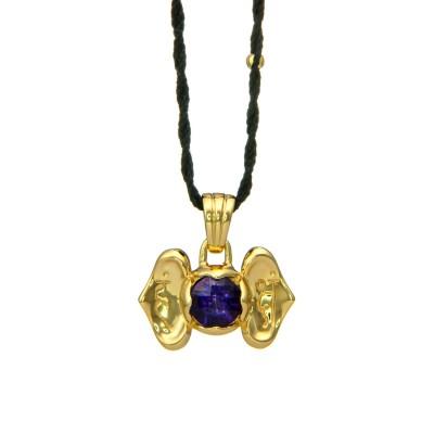 Drittes Auge Chakra Anhänger | Gold Anhänger | mit Amethyst| Yoga Schmuck | Sterlingsilber in edler 18 Karat vergoldeter Ausführung