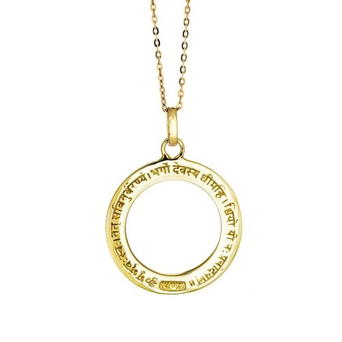 Gayatri Mantra Anhänger | Gold Anhänger | mit Öse | Yoga Schmuck | in edler 18 Karat vergoldeter Ausführung