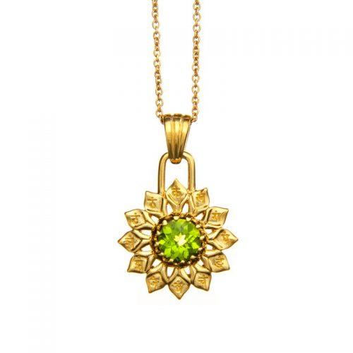 Herz Chakra Anhänger | Gold Anhänger | Yoga Schmuck | mit grünem Peridot | Sterlingsilber in edler 18 Karat vergoldeter Ausführung