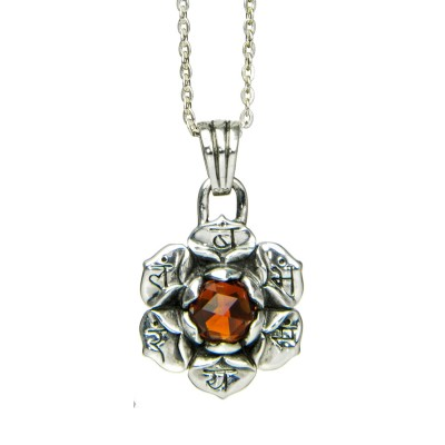 Sakral Chakra Anhänger | Silber Anhänger | mit hochwertigem, orangem Citrin| Yoga Schmuck | Sterlingsilber