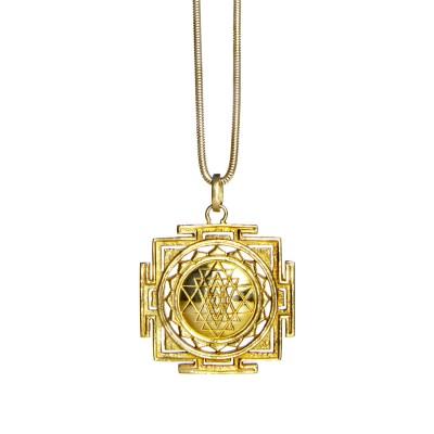 Sri Yantra Anhänger Sterlingsilber | Gold Anhänger | Yoga Schmuck |Sterlingsilber in edler 18 Karat vergoldeter Ausführung