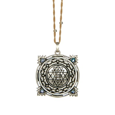Sri Yantra Anhänger Silber   vier Aquamarine   YOGA STILVOLL   Yoga Schmuck   Spiritueller Schmuck   Yantra Anhänger kaufen