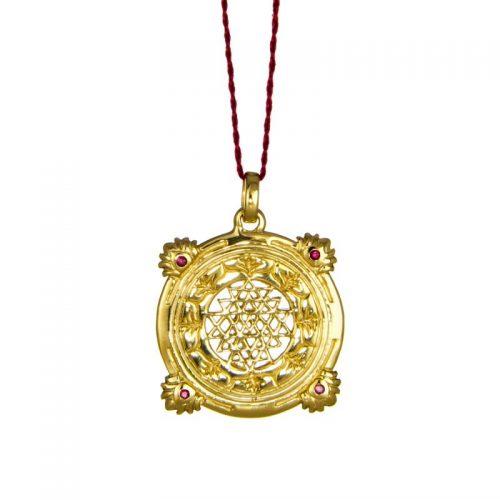 Sri Yantra Anhänger Sterlingsilber | Gold Anhänger |mit vier Rubinen | Yoga Schmuck |Sterlingsilber in edler 18 Karat vergoldeter Ausführung