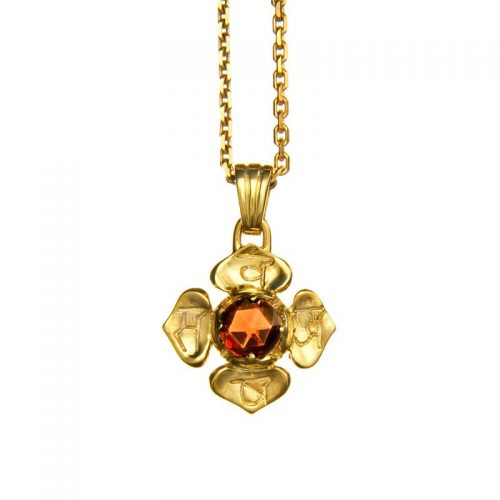 Wurzel Chakra Anhänger | Gold Anhänger | mit hochwertigem Granat | Yoga Schmuck | Sterlingsilber in edler 18 Karat vergoldeter Ausführung