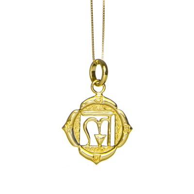 Wurzel Chakra Anhänger | Gold Anhänger | Yoga Schmuck | Sterlingsilber in edler 18 Karat vergoldeter Ausführung