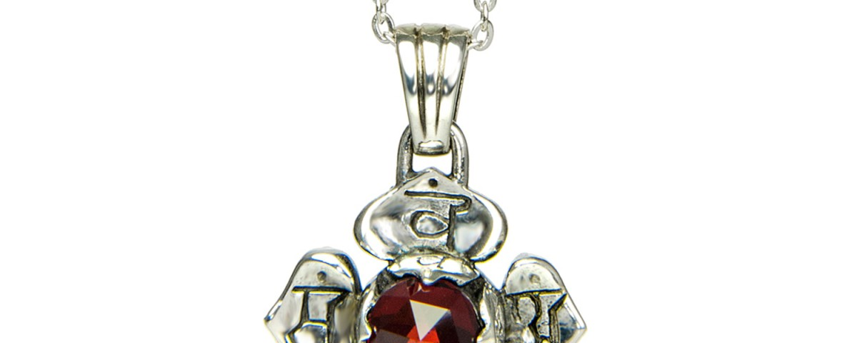 Wurzel Chakra Anhänger | Silber Anhänger | mit hochwertigem Granat| Yoga Schmuck | Sterlingsilber