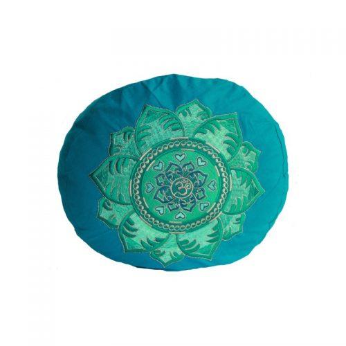 Yogakissen | Meditationskissen | OM Mandala petrol ziert eine edle und aufwändige Stickerei