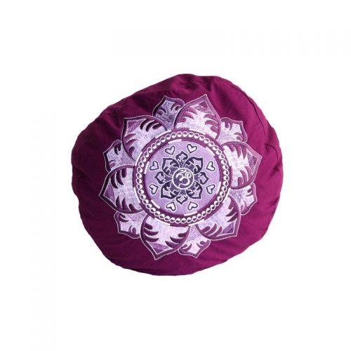 Yogakissen | Meditationskissen | OM Mandala violett ziert eine edle und aufwändige Stickerei