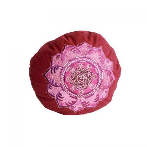 Yogakissen | Meditationskissen | OM Mandala weinrot ziert eine edle und aufwändige Stickerei