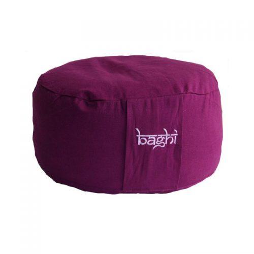 Meditationskissen | Yogakissen | violett, rund mit hochwertigem Bio-Buchweizenspelz gefüllt