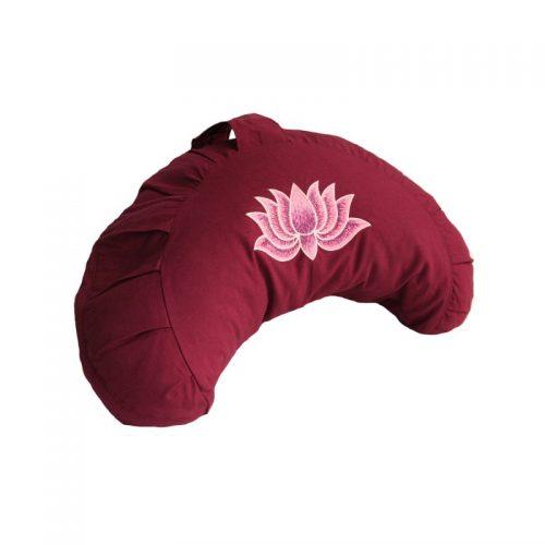 Yogakissen | Halbmondkissen | Meditationskissen | Meditationskissen kaufen | Yoga Sitzkissen | Yogakissen kaufen | Lotusblume weinrot
