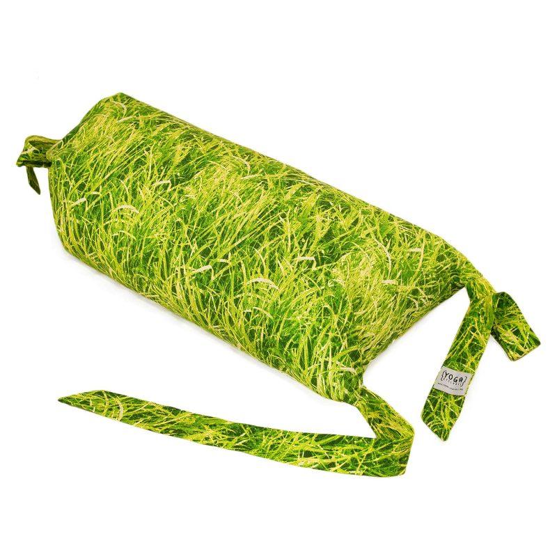 Meditationskissen | Yogakissen Rolle, Pilates Rolle grün Wiese | mit Fotodruck Wiese, mit Bio Dinkelspelzen gefüllt