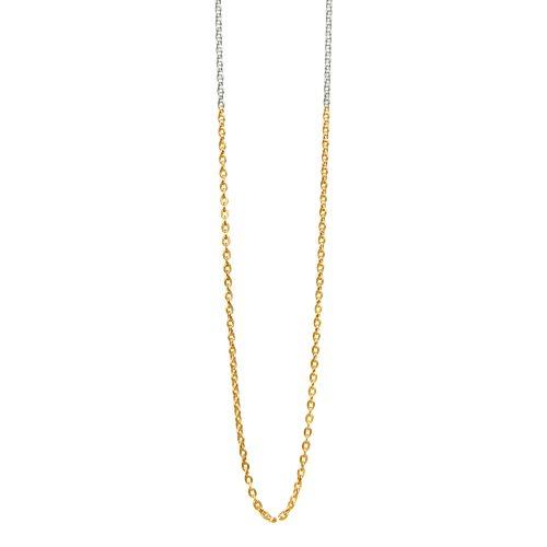 Halskette bicolor | Silber und teil 18 Karat vergoldet Ankerkette | Halskette kaufen | Halsketten kaufen | Halskette teilvergoldet