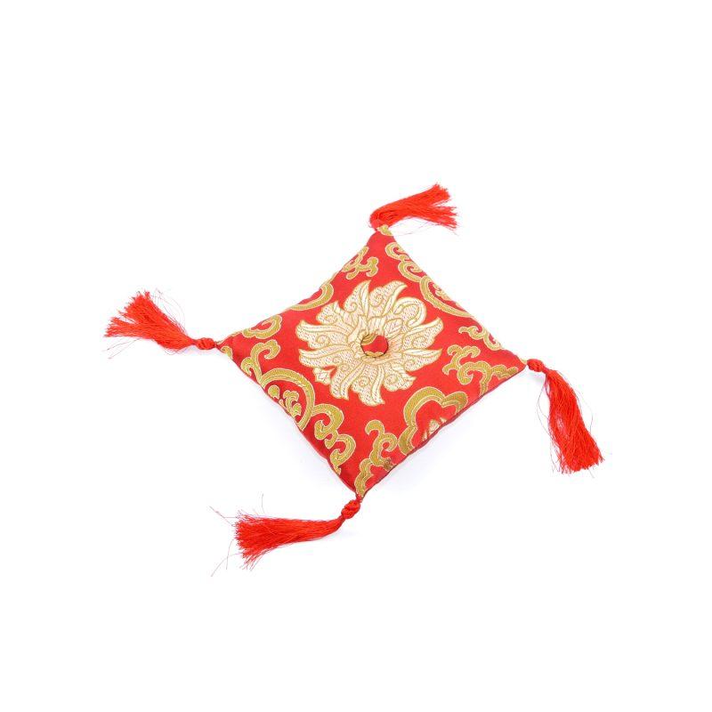 Klangschalenkissen Viereckig Rot mit Mandala Stoff