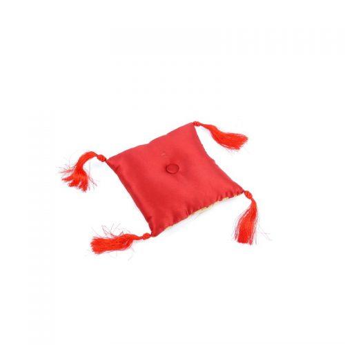 Klangschalenkissen Viereckig Rot mit Mandala Stoff hinten