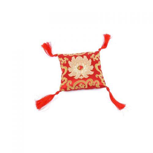 Klangschalenkissen Viereckig Rot mit Mandala Stoff vorne
