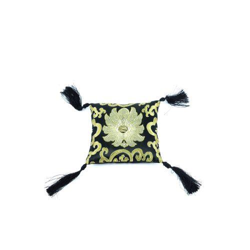 Klangschalenkissen Viereckig Schwarz mit Mandala Stoff vorne