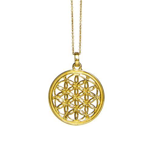Blume des Lebens Anhänger | Gold Anhänger | Yoga Schmuck | Blume des lebens Schmuck | Sterlingsilber in edler 18 Karat vergoldeter Ausführung