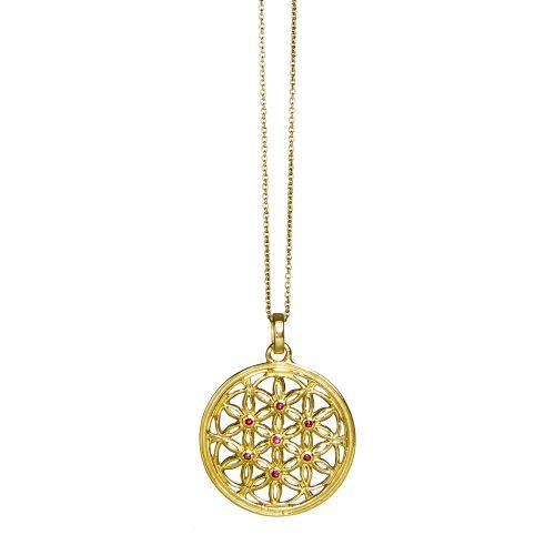 Blume des Lebens Anhänger | Gold Anhänger | mit sieben Rubinen | Blume des lebens Schmuck | Sterlingsilber in edler 18 Karat vergoldeter Ausführung