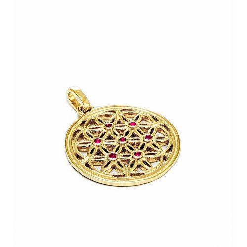 Gold Anhänger Die Blume des Lebens 18 karat vergoldet aus Sterlingsilber mit Rubin