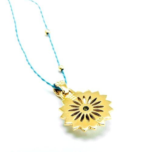 Gold Anhänger Hals Chakra 18 Karat vergoldet aus Sterlingsilber mit blauen Topas