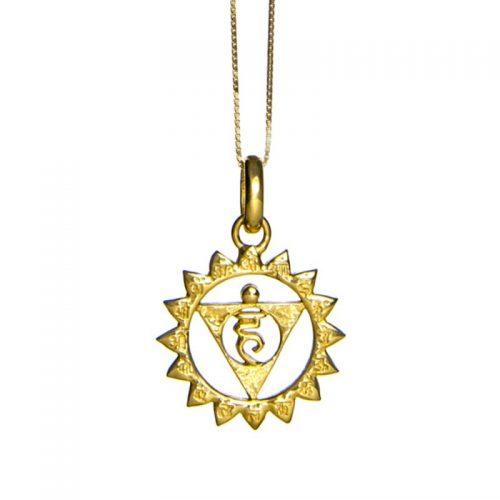 Hals Chakra Anhänger | Gold Anhänger | Yoga Schmuck | Sterlingsilber in edler 18 Karat vergoldeter Ausführung