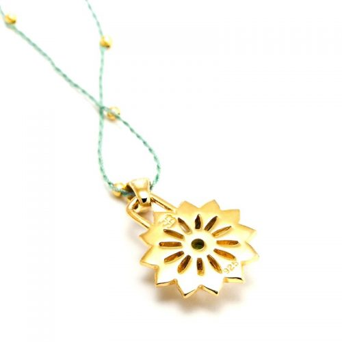 Gold Anhänger Herz Chakra 18 karat vergoldet aus Sterlingsilber mit hochwertigen Peridot | Rückseite | Chakra Schmuck
