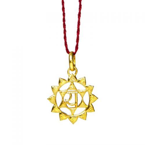 Herz Chakra Anhänger | Gold Anhänger | Yoga Schmuck | Sterlingsilber in edler 18 Karat vergoldeter Ausführung