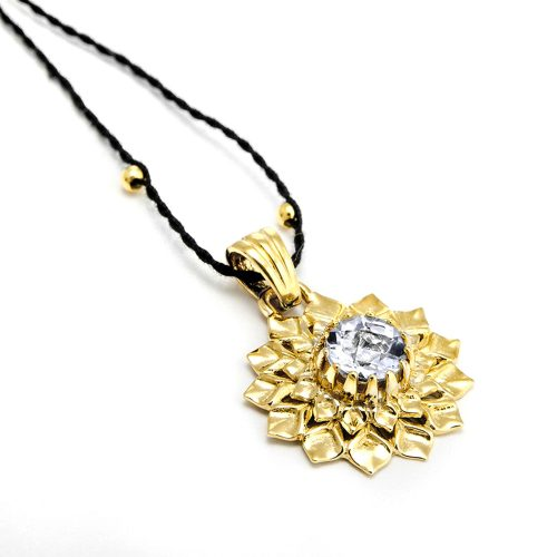 Gold Anhänger Kronen Chakra aus Sterlingsilber mit hochwertigen Bergkritall