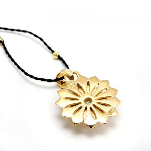Gold Anhänger Kronen Chakra aus Sterlingsilber mit hochwertigen Bergkritall | Rückseite | Yoga Schmuck | Spiritueller Schmuck | Chakra Anhänger