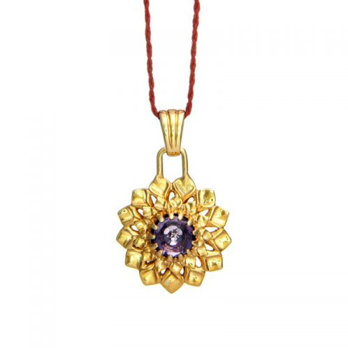 Kronen Chakra Anhänger | Gold Anhänger | mit Amethyst| Yoga Schmuck | Sterlingsilber in edler 18 Karat vergoldeter Ausführung